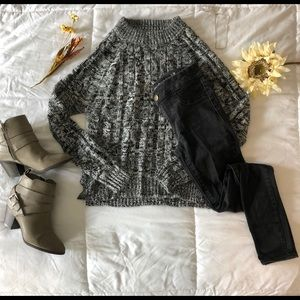 High neck long sleeved sweater